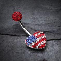 American Flag Tiffany Inspired Multi Gem Belly Button Ring