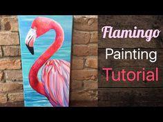 Flamingo Acrylic Painting Tutorial - By Artist, Andrea Kirk Canvas Painting Tutorials, Acrylic Painting For Beginners, Acrylic Painting Techniques, Beginner Painting, Acrylic Painting Canvas, Acrylic Art, Diy Painting, Painting & Drawing, Flamingo Painting
