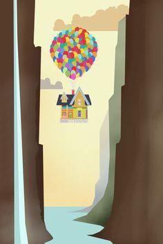 UP by Robbie Thiessen, via Behance 단순한 듯한 레이아웃 풍선을 매달고 집을 띄운다는 재미있는 발상 양 옆을 감싼 계곡으로 인한 안정감과 높이감 표현 따스한 색감
