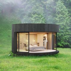 French-based Lumicene is using their signature curved glass window to create modern nature retreats. The Lumipod Prefab Cabin is a circular shelter. Its frame. Prefab Cabins, Prefabricated Houses, Wood Cladding Exterior, Bed Design, House Design, Glass Cabin, Charred Wood, Casas Containers, Log Cabins