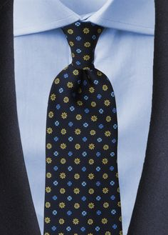CARACAS - Cravatta 7-pieghe blu/verde in seta stampata - CRAVATTE STILE INGLESE