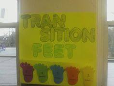 "I came up with this when the toddlers in my classroom had trouble with transitioning to new activities. 5 minutes before it is time to clean up, let the kids know the feet are going to start walking away. After each minute that passes put a foot in the pocket. Once 5 minutes are up, the feet have all ""walked away"" and it is time to put away toys and move on to the next activity."