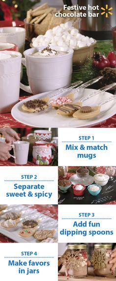 Warm up your next gathering with a holiday hot chocolate bar. Follow these easy tips for a fun, affordable drink station for your guests. Mix & match mugs: different styles add character. Label fixings. Separate sweet candy toppings from savory toppings & spices. Stir up some fun w/melted butterscotch & candy sprinkle dipping spoons. Layer leftover hot chocolate & toppings in jars for party favors or gifts. Walmart's your one stop for gatherings tips & tricks + low prices on everything you…