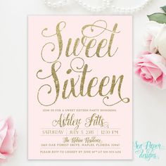 Blush Pink & Gold Glitter Girl Sweet Sixteen 16th Birthday Invitation - Shabby Chic Light Pink Pastel Party Invite Printed