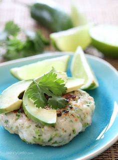 These shrimp cakes are light and delicious, made with jalapenos, scallions, and cilantro then topped with a little fresh lime juice and a few slices of avocado. Serve this over a bed of greens for a quick, light summer meal. It's really starting to feel like summer around here, temperatures are expected to hit 90 today. I can actually smell summer in the air, which gets me sooo excited!! After a long weekend of going to BBQ's and too many glasses of sangria, this week I am keeping it...