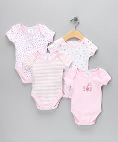 Take a look at this Pink Flower Bodysuits Set by SpaSilk on #zulily today!