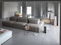 Living room inspiration with a custom configuration of our Connect Modular Sofa. Perfect for lobby interiors and hotel designs, bringing new perspectives on Scandinavian design with its soft seat and unique expression.