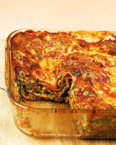 Spinach is the star of this vegetable lasagna recipe. The veggie-based recipe makes one large lasagna (9 by 13 inches) or two smaller ones (8 by 8). For the perfect make-ahead meal, prepare two vegetable lasagnas; bake one now, and freeze the other for later.