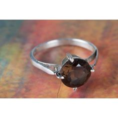 Amazing Faceted Smoky Quartz Gemstone Handmade 925 Sterling Silver... via Polyvore featuring jewelry, rings, smokey quartz jewelry, gem jewelry, sterling silver rings, gemstone jewellery and smokey quartz ring