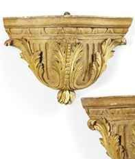 A PAIR OF ITALIAN CARVE D GILTWOOD WALL BRACKETS, LATE 18TH C. AND LATER Of serpentine outline, with egg-and-dart and acanthus carved decoration, H. 11¾ in. (29.5 cm.); W. 15½ in. (39 cm.); D. 6½ in. (16 cm.) / christie's