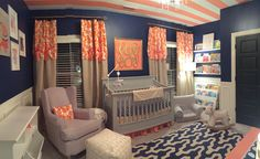 A navy and coral nursery inspired from many sources. I did not want to have a traditional pink baby girl nursery. Coral Navy Nursery, Coral Nursery Decor, Baby Boy Room Decor, Baby Bedroom, Baby Boy Rooms, Nursery Themes, Nursery Room, Girl Room, Girl Nursery