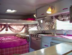An interior image of the vintage 13' Aristocrat travel trailer I fixer uppered!