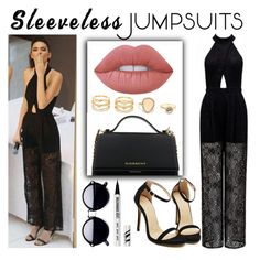 """kendall Jenner in a jumpsuit"" by kawtar-el ❤ liked on Polyvore featuring Forever New, Givenchy, Lime Crime, LULUS, Bare Escentuals and sleevelessjumpsuits"