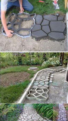 DIY Cobblestone-Look Concrete Pathway. DIY Cobblestone-Look Concrete Pathway. DIY Cobblestone-Look Concrete Pathway. Backyard Walkway, Diy Patio, Backyard Landscaping, Patio Ideas, Pathway Ideas, Stone Backyard, Patio Stone, Rustic Backyard, Stone Walkways