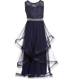 e143a299335 Xtraordinary Big Girls 7-16 Lace Solid Long Ball Gown