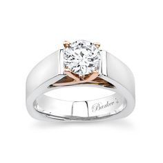 Two Tone Solitaire Engagement Ring - 4801LW - Clean strong contemporary styling with a flair for the unique this two-tone solitaire ring has it all.  A cathedral shank rises up just under the round center diamond with fancy rose gold criss-crossing prongs.  A squared shank adorns the bottom of the ring and helps keep it from turning on the finger. This ring exudes a modern appeal of sophistication.  Also available in Two-tone yellow/white gold, all white or yellow gold, 18k and Platinum.