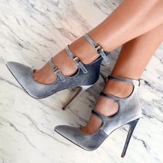 Classy, Elegant, Glamorous, Gorgeous, Sexy Grey Velvet Heels Pointy Toe Stiletto Heel Pumps with Buckles Stilettos, Red Stiletto Heels, Pumps Heels, Grey Heels, Bootie Heels, Patent Heels, Ankle Bootie, Shoes Sandals, Hot Heels