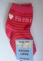 """Wunderschöne Baby-Söckchen rosa-pink gestreift Gr 56-68 """" I love Papa"""" Apollo"""