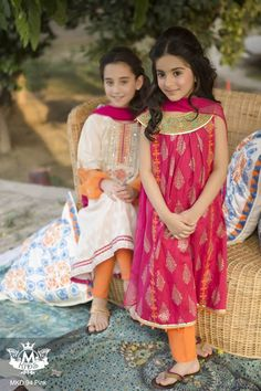 Maria B introduces their brand new ready-to-wear Eid collection for women and children! This design house has been getting it considerably right with its graceful ultra feminine designs all season. Frocks For Girls, Kids Frocks, Little Girl Dresses, Girls Dresses, Baby Dresses, Kids Salwar Kameez, Salwar Pants, Shalwar Kameez, Churidar