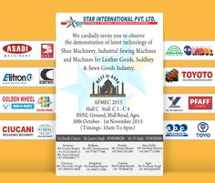 The Invitation from our Indian Partner STAR INTERNATIONAL PVT. LTD. Come & Meet us  AFMEC MEET AT AGRA 2015 - 9th Edition   30th Oct. to 01st November 2015   Leather, Footwear Components & Technology Fair A.B.C. srl Made in Italy for you we will display our Storage System and Cabinets http://www.abcprato.it/en/ Italian Manufacturer of #Equipment & #Technology for #Leathergoods & #Footwear Industry in Italy and around the world
