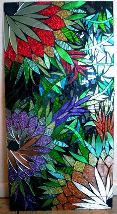 Tropical Bliss Stained Glass Mosaic Panel by Spoiled Rockin ♥ Stained Glass Paint, Stained Glass Flowers, Stained Glass Designs, Stained Glass Panels, Stained Glass Projects, Stained Glass Patterns, Leaded Glass, Mosaic Art, Mosaic Glass