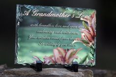"""Rectangle Sedimentary Rock Slate (5.85"""" x 7.8"""". 3/8"""") Machined sublimation coated slate with natural edging. Comes with black plastic """"feet"""". Slate can vary in size by up to -0.4"""". Makes great gifts & keepsakes too!    Sentimental Keepsake Rock Slate Photo for Mom Grandmother Souvenir Gift"""