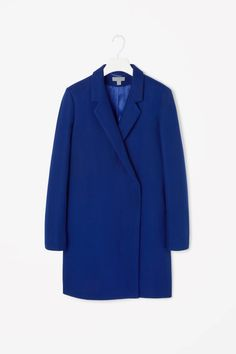 Crossover wool coat #blue