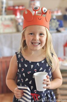 Trendy hat art for kids tea parties ideas Lobster Party, Crab Party, Elmo Party, Mickey Party, Dinosaur Party, Crab Costume, Lobster Costume, Easy Art For Kids, Sea Crafts