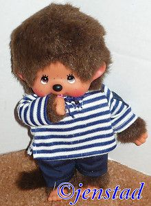 "Monchhichi Brown Monkey Sucking Thumb Plush Toy 7"" Figure Shirt Pants 1980s Used 