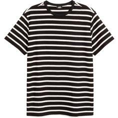 Cotton Piqué T-shirt - Black/white striped - Men Black White Stripes, Striped Tee, Neck T Shirt, Shirt Men, Fashion Online, Men Fashion, Mens Tops, Cotton, Shirts
