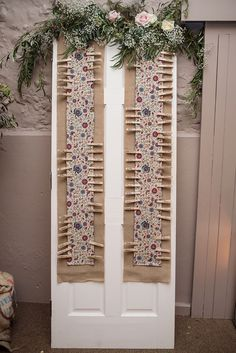 Peg Seating Plan Fabric Greenery Foliage Table Chart Door Stylish Floral Barn Wedding http://www.sarareeve.com/