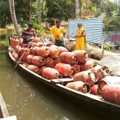 Gas delivery backwaters style #boat #backwaters #kerala #gas #delivery #allepey by scalino