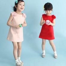 2016 neue Mode Baby Mädchen Kleider Kleinkind Mädchen 100% Baumwolle Blume Festes Kleid Kinder Freizeitkleidung Kinder Kostüm Vestido(China (Mainland))