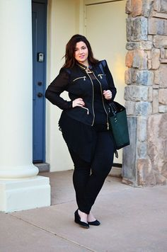 crystal coons plus model city chic moto jacket all black outfit ootd