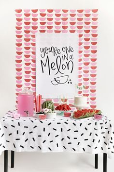 Fruit party, first birthday parties, birthday party themes, watermelon part Watermelon Birthday Parties, Fruit Party, Birthday Party Themes, Spring Party Themes, Spring Birthday Party Ideas, Spring Theme, Cute Watermelon, Going Away Parties, One In A Melon