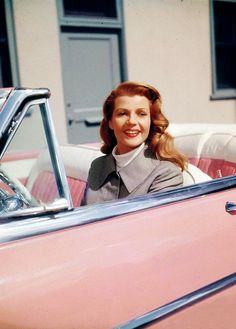 Rita Hayworth pictured here.  Reminds me of a fave song by Aretha. Pink Cadillac Mix: Freeway of Love