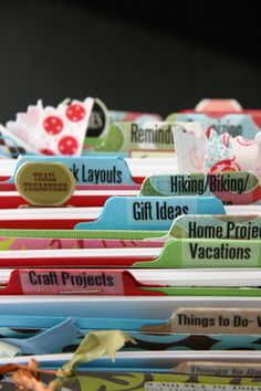 detail of crafty Rolodex tabs -- great for organizing, quotes, memories, quirky journal idea  This is great! It's kinda like pin it on paper!!