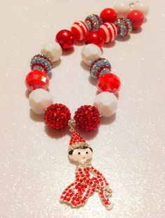 THE ELF ON THE SHELF~Rhinestone Elf chunky necklace by BowTasticDiva on etsy Chunky Necklaces, Chunky Beads, The Elf, Elf On The Shelf, Christmas Eve, Christmas Ornaments, Bubble Gum, Bubbles, Holiday Decor