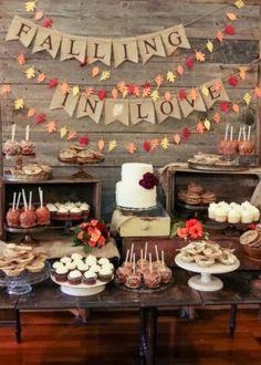 Fall wedding dessert display | http://www.beautiful-bridal.blogspot.com/