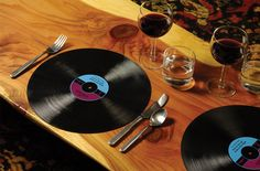 Bring some fun to a music fan's table with these Record Placemats. Unique gift idea for a music lover.