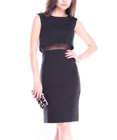 This Black Linen-Blend Mesh-Accent Cutout Dress is perfect! #zulilyfinds