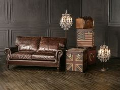 Balmoral 2 Seater, London Trunks in Union Jack, Stars & Stripes and Antique Crystal Lamps Leather Furniture, Leather Sofa, Luxury Furniture, British Things, Interior Design Business, Tiny House Living, Vintage Leather, Man Cave, Halo