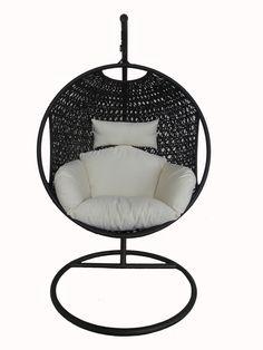 Charles Bentley Garden Black Rattan Pod Swing Chair