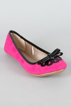 Qupid Thesis-168 Suede Scalloped Bow Ballet Flat