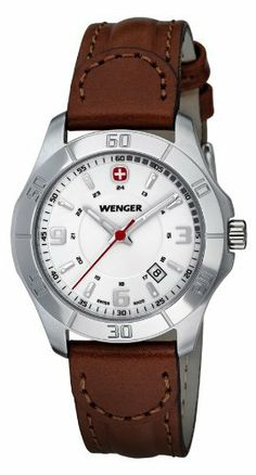 Wenger Women's 70490 Alpine White Dial Brown Leather Watch Wenger. $128.00. Hour, minute, second hands. Shock and water resistant. Hi Vis hands, markers; 3 year warranty. Water-resistant to 330 feet (100 M). Swiss Quartz movement