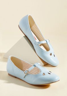 <p>An essential element to every look? Shoes as darling as these pastel blue flats from B.A.I.T. Footwear! Stylize your stride with this faux-leather pair's petite straps, silver buckles, timeless teardrop cutouts, and unflinching versatility.</p>