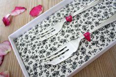 'Mr & Mrs' vintage cake fork set