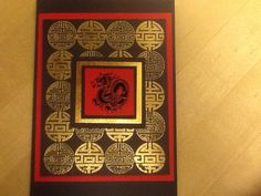 Local rubber king Chinese symbol background stamp gold embossed and small dragon stamp from rubber stampede black embossed