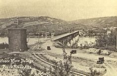 Peace River bridge in ca 1920s when this photo was taken, the NAR was  still the Central Canada Railway.  The bridge was completed in November 1918. The Central Canada Railway became part of the newly formed Northern Alberta Railways in 1929 under an Alberta government agreement with the CPR and the CNR to takeover the four northern railways.