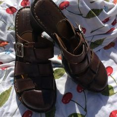 b.o.c. Low Heeled Leather Sandals Great for traveling!  Comfy and durable!  In great condition. A small amount of wear on the heels, but, really, barely worn!  All stitching and buckles in solid place. b.o.c. Born Concept Shoes Mules & Clogs
